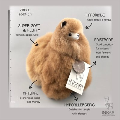 Inkari - Alpaca knuffel Hazelnoot S