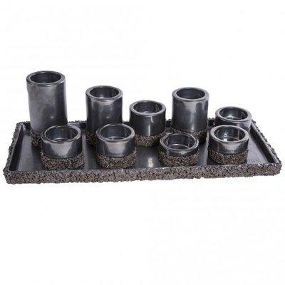 PTMD - Subtile Petrol ceramic candleholders on plate