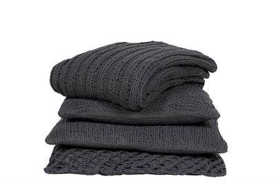 MrsBloom - Knitted throw Tours dark grey