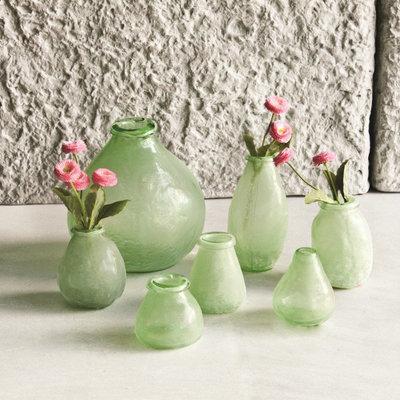 PTMD - Amora green Glass vase low