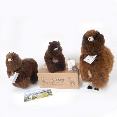 Inkari - Alpaca zachte knuffel Donkerbruin Small