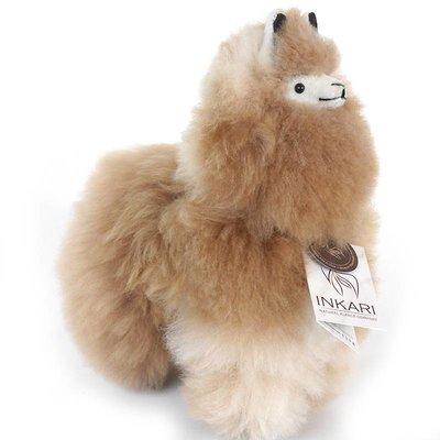 Inkari - Alpaca zachte knuffel Bruin / naturel Medium