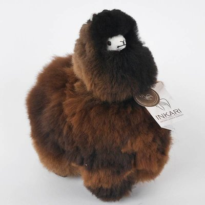 Inkari - Alpaca zachte knuffel Donkerbruin / zwart Medium