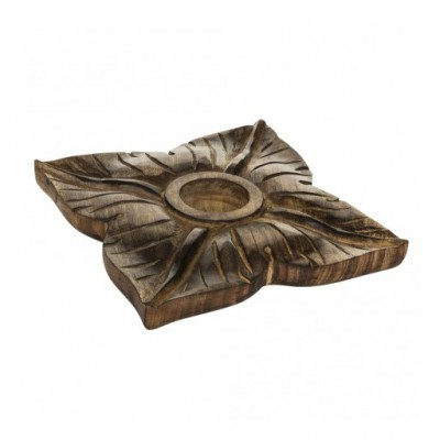 PTMD - Wood brown tealight square flower L