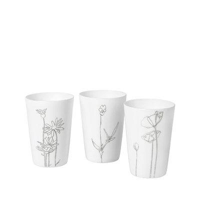 Broste Copenhagen - Theelichthouder Bloom s/3 wit / zilver