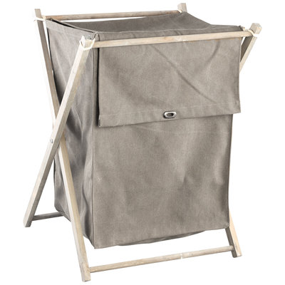 PTMD - Wasmand Zipp Taupe canvas mand ijzer