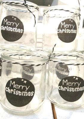 (Op) de Maalzolder - Windlichtje Merry Christmas zwart