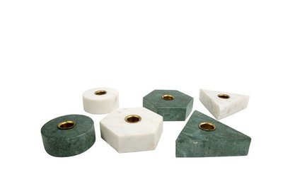 MrsBLOOM - Kandelaar Collin Driehoek Groen marmer